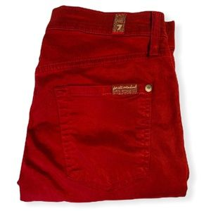 For All Mankind Burgundy Stretchy Jeans